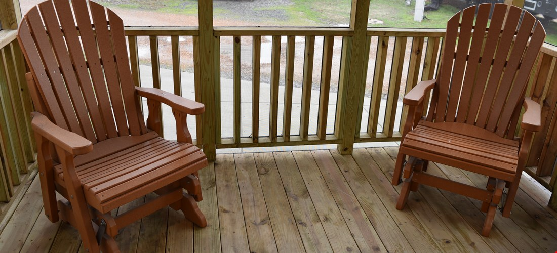 Chairs on Deck of Deluxe Cabins