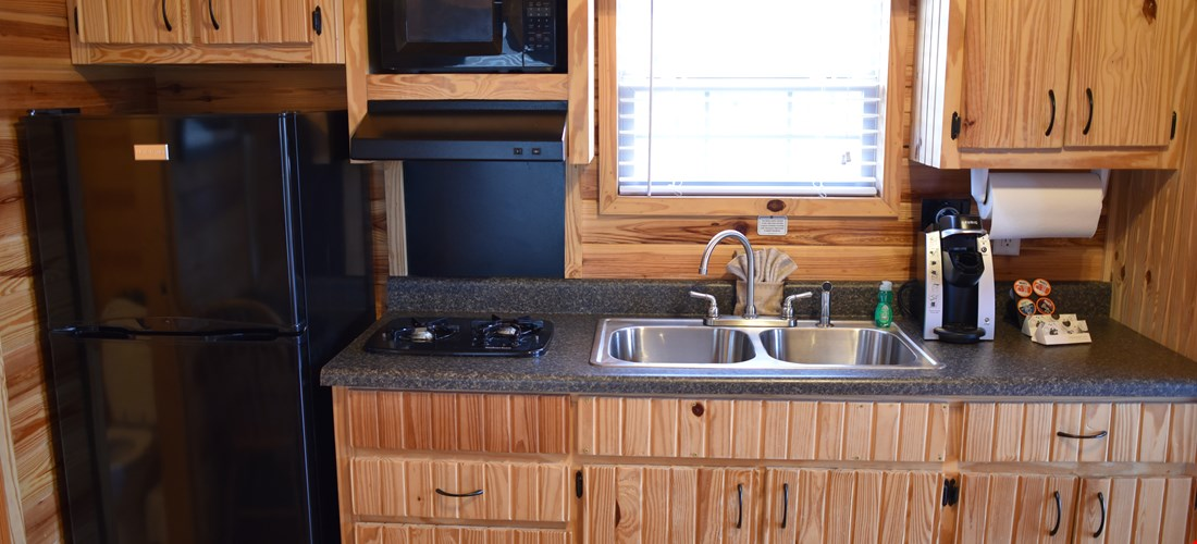 Kitchenette in a studio deluxe cabin