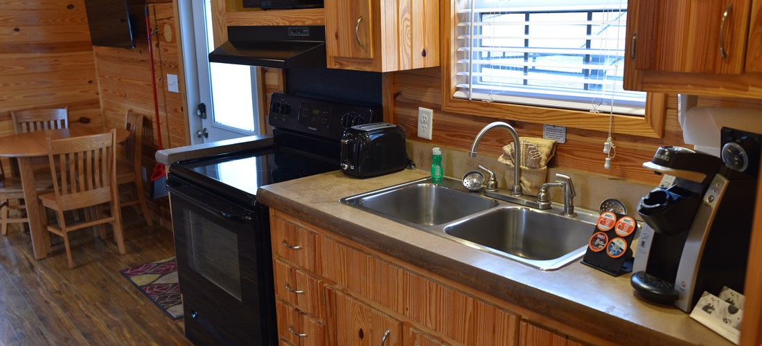 Kitchenette of the two bedroom deluxe cabin
