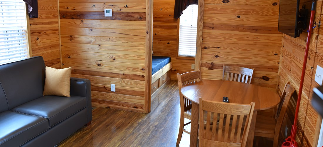 Living area in the two bedroom deluxe cabin