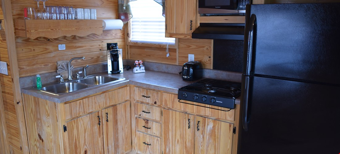 Kitchenette in a family deluxe cabin