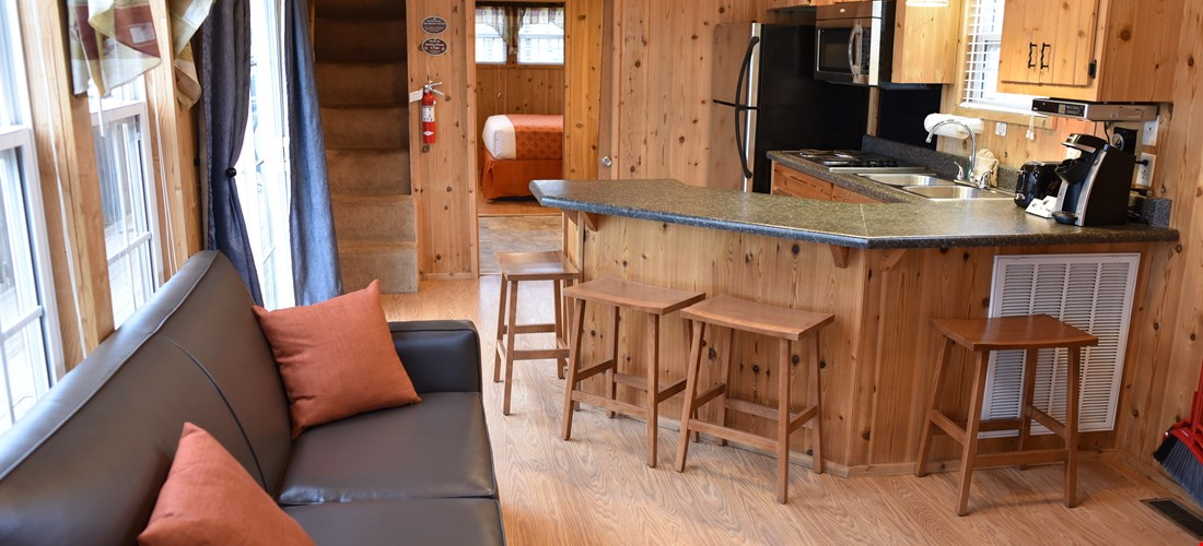 Living area of the loft deluxe cabin